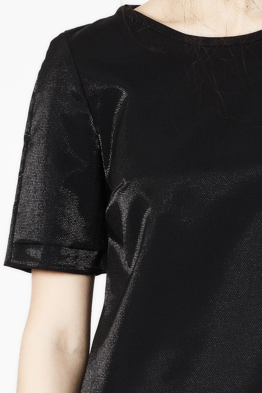 Kurzarmbluse SAVII schwarz 100% Schurwolle